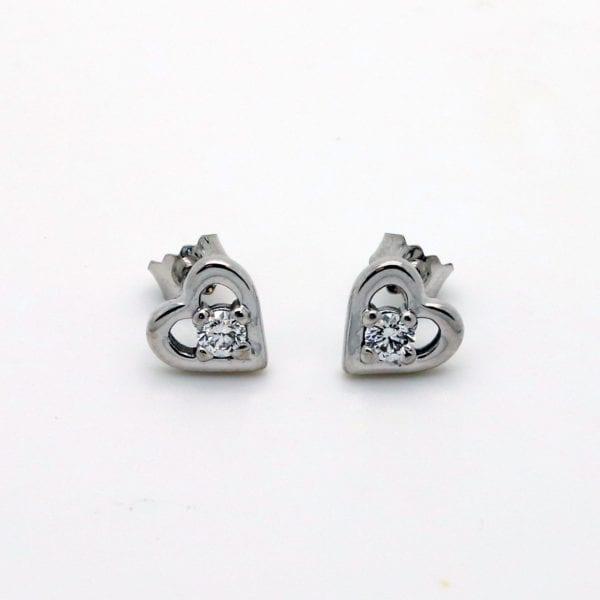 Heart Shaped Diamond Set Stud Earrings