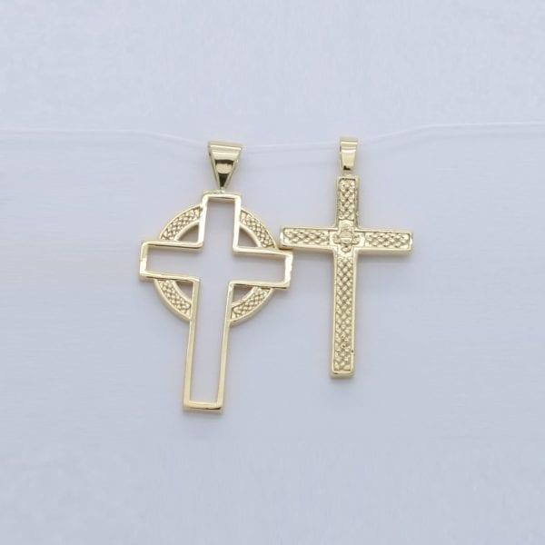 18ct yellow gold bespoke ladies & gents Celtic design crosses