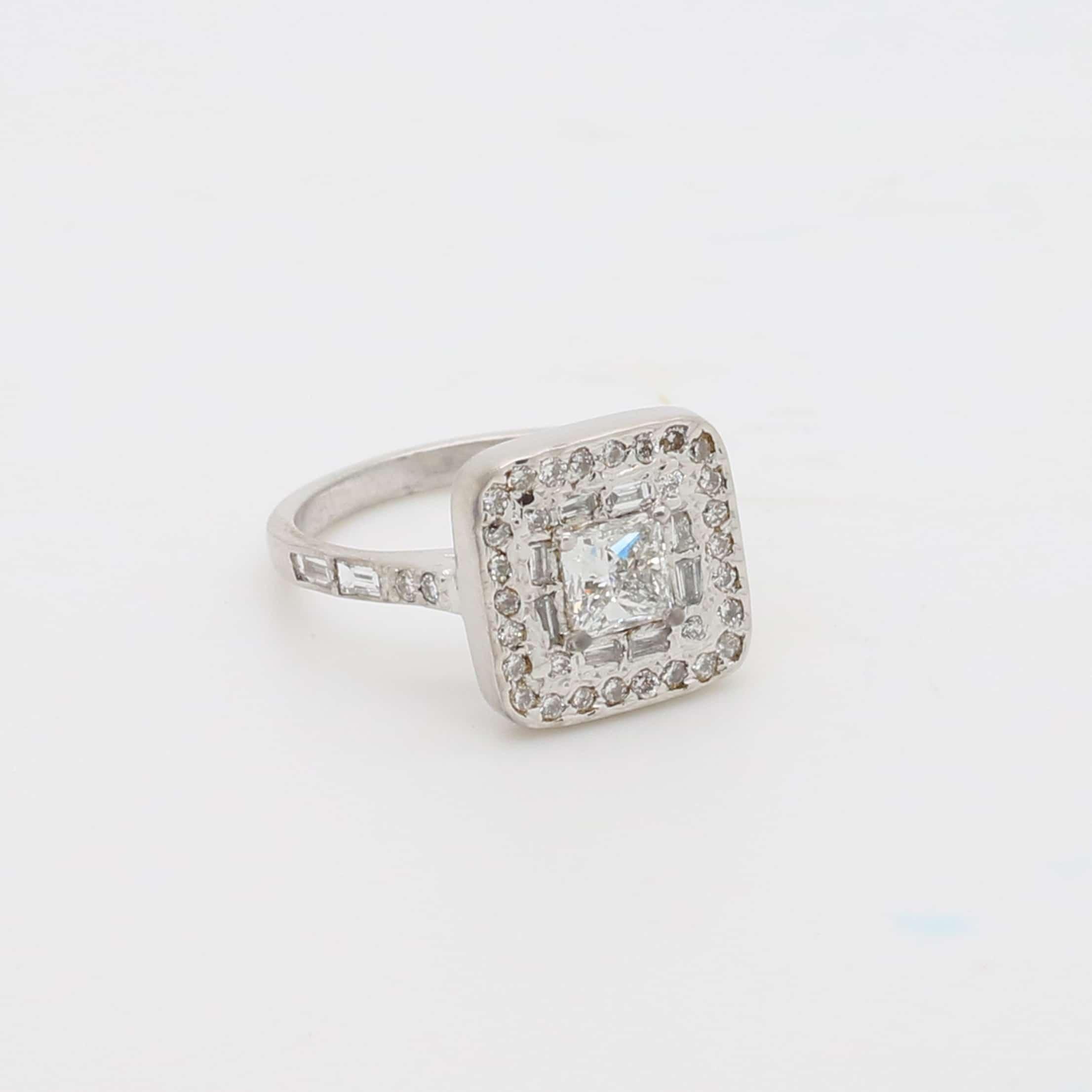 Bespoke white gold diamond halo ring