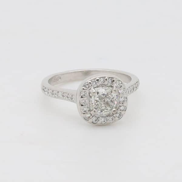 Bespoke Ladies 18ct White Gold Cushion Shaped Diamond Halo Design Cluster Ring