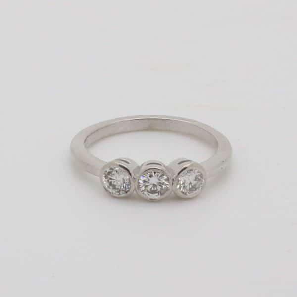 Ladies 18ct white gold three stone diamond engagement ring