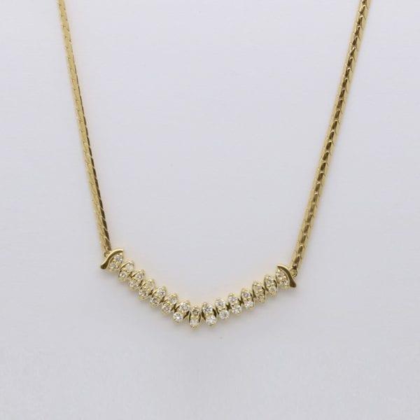 Ladies 18ct yellow gold diamond necklace