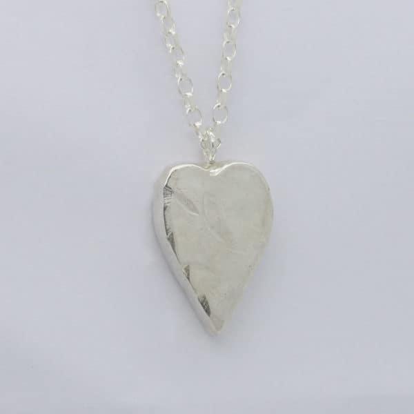 Silver Rustic Style Memorial Heart Pendant